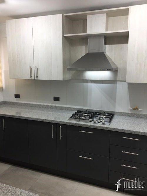 Muebles de cocina en melamina gris grafito y castaño blanco ...