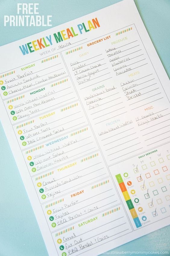FREE Printable Weekly Meal Plan including shopping list and daily serving checklist.