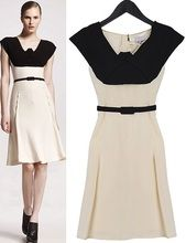 Black Off White Sleeveless Color Block Pleated Belted Dress
