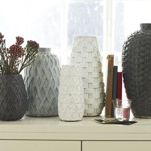 woven ceramic vases