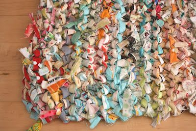 rag rug made from selvages. size 35 knitting needles