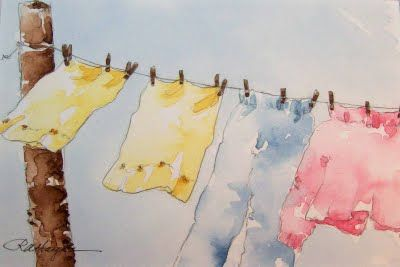 Clothes wave in the breeze as they hang on a line... watercolor by RoseAnn Hayes www.etsy.com/shop/RoseAnnHayes?ref=pr_shop_more (laundry, art)