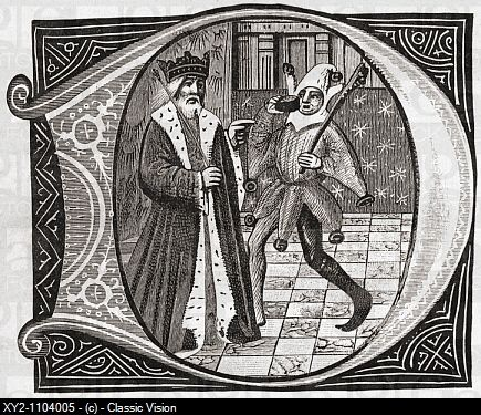 King and Jester, early 15th century From the book Short History of the English People by J R Green, published London 1893.: