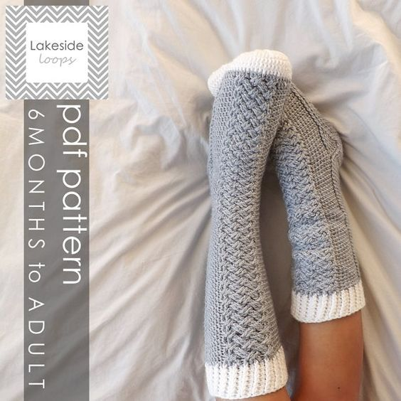 The Parker CROCHET Cable Socks PATTERN (includes 11 sizes - Baby (6 Months) through to Mens/Womens Adult sizes)