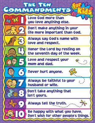 The Ten Commandments for Kids Chart | Kids charts, Ten ...