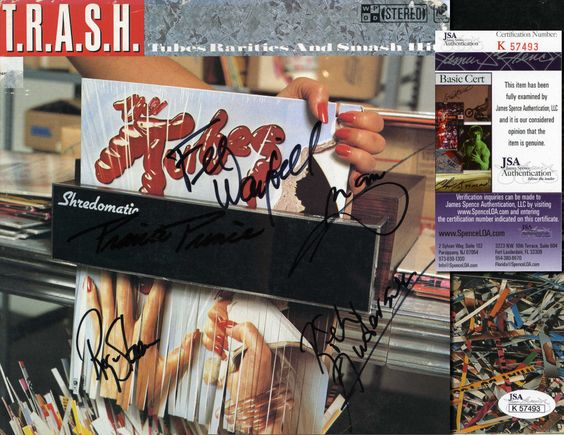 """THE TUBES Hand Signed LP Cover """"T.R.A.S.H."""" 5 Sigs - JSA COA - UACC RD#289 in Collectibles, Autographs, Music 