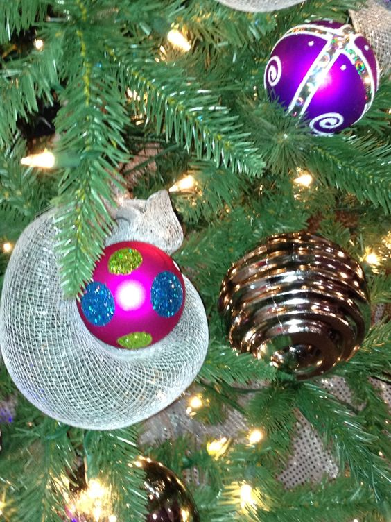 christmas bulbs wrapped in netting