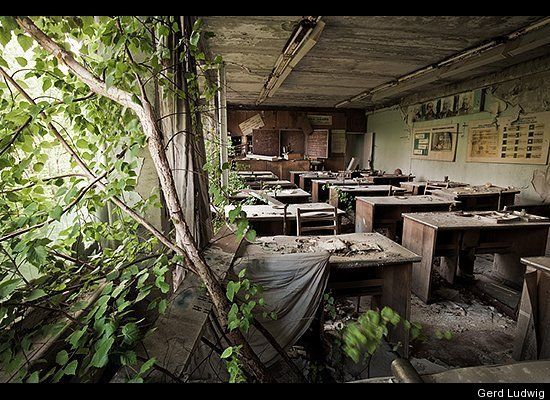 Twenty-five years later, the empty schoolrooms of Pripyat stand as a testament to the sudden and tragic departure of the city's residents. As nature takes over the abandoned buildings and homes inside the Exclusion Zone, it is a stark contrast to the fear-plagued lives of the people who survived the world's worst nuclear accident.