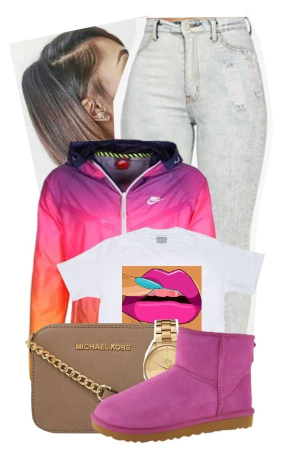 """""""Cutie W/ A Booty"""" by dajvuuloaf ❤ liked on Polyvore featuring NIKE, MICHAEL Michael Kors, Lacoste and UGG Australia"""