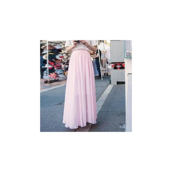 Chiffon Long Skirt ($26) ❤ liked on Polyvore