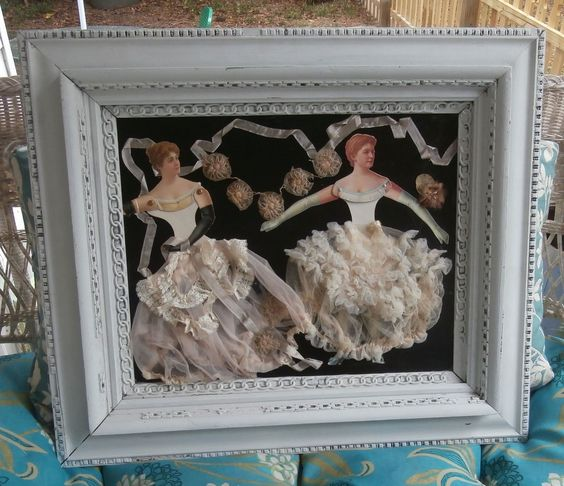 "Huge Shabby Paper Dolls Vintage Ribbon Lingerie Ladies 28"" x 25 Antique Frame | eBay"