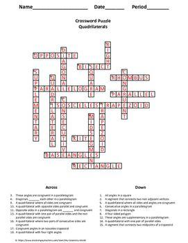 Geometry Crossword Puzzle: Quadrilaterals | Puzzles, Crossword and ...