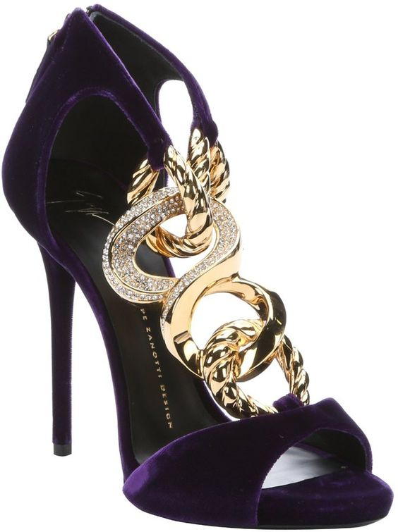 Violet Velvet Chain Link Stiletto Sandals