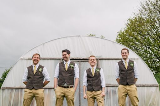 Tweed Waistcoats Chinos Yellow Ties Groom Quirky Vintage Village Fete Home Made Wedding http://www.stottandatkinson.com/