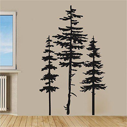Pine Evergreen Trees Set Of Three Vinyl Wall Decal Sticker Finn