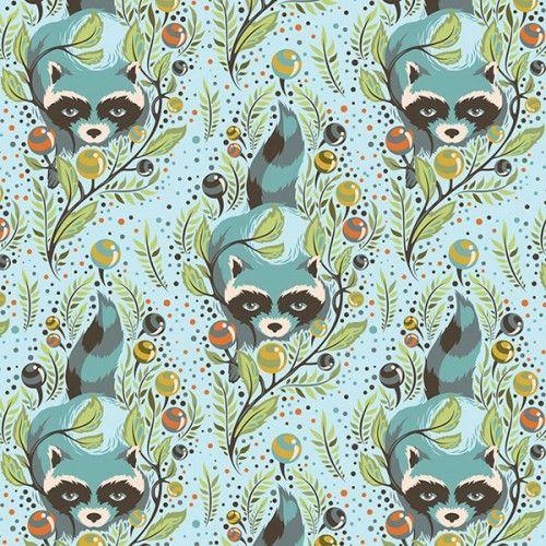 Acacia Racoons in Sky FabricSpot