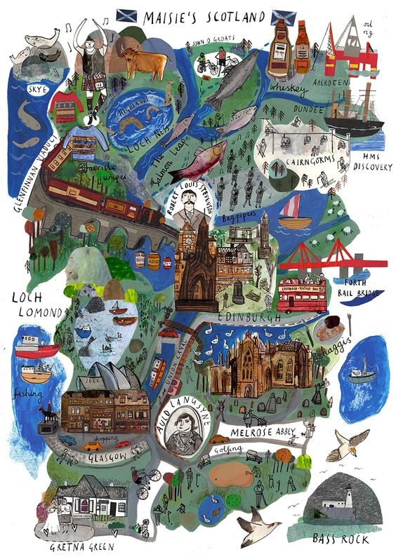 Maisie Shearring Map of Scotland MAPS – Travel Map Of Scotland