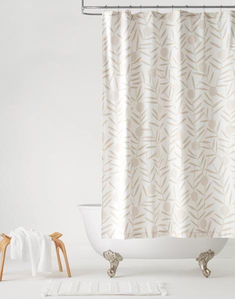 Bloom Taupe Shower Curtain Default Title Patterned Shower