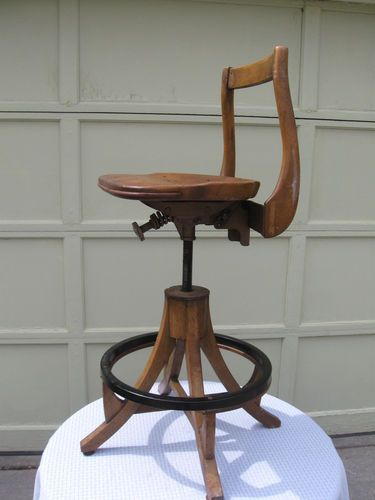 Art Deco Sikes Drafting Stool Chair Tilt Swivel Vtg