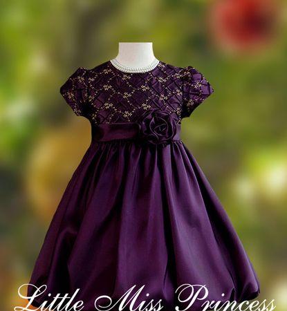 Plum Colored Flower Girl Dresses | Plum Taffeta Bubble Hemline ...