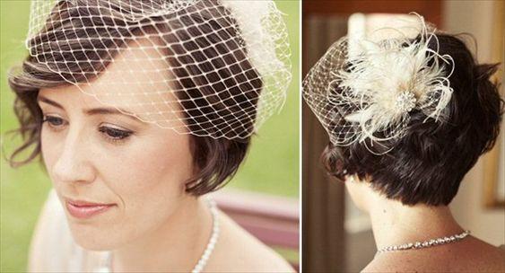 beautiful short hair bride with birdcage veil // photo by louisa bailey via polka dot bride