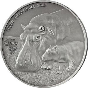 Hippo's Africa Silver Ounce Congo 2013 Antique Finish