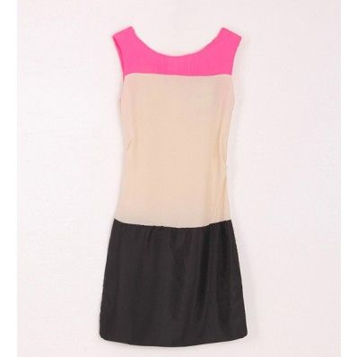 Pink Chiffon Color Block Round Neck Dress