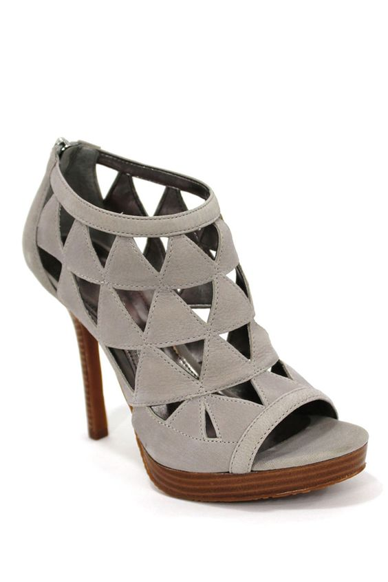 Calvin Klein Donna Nubuck Heels With Zipper In Drizzle Gray