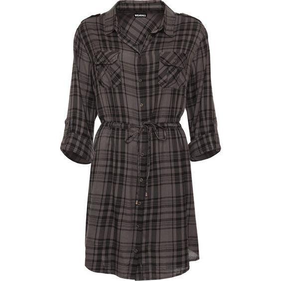 Elouise Checked Baggy Shirt Dress (92 BRL) ❤ liked on Polyvore featuring plus size women's fashion, plus size clothing, plus size dresses, dresses, plus size, grey, long-sleeve shirt dresses, shirt dress, rayon dress and long sleeve dress