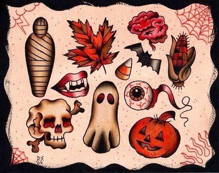 art, pretty cool old school, vintage tattoo style halloween/autumn