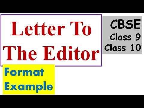 How To Write A Letter To The Editor Class X Xii Formal Letter