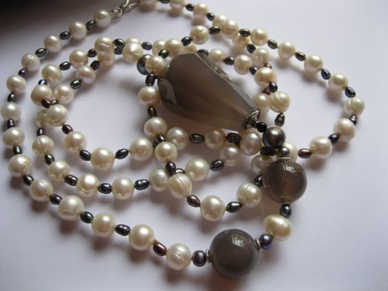 Long Pearl Necklace with Grey Agate Feature Stones