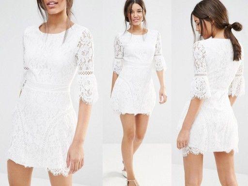 Ti06 0s Missguided Koronkowa Sukienka Mini 42 Xl 7141240899 Oficjalne Archiwum Allegro Dresses Clothes White Dress