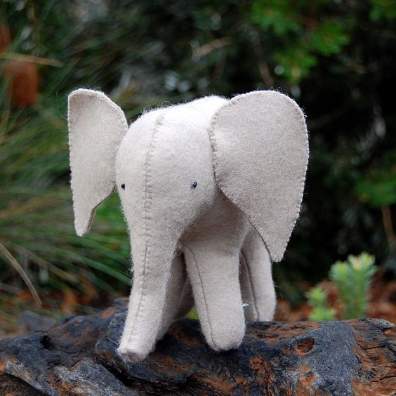 Felt elephant softie by Bellgirl, via Flickr pattern from sew soft toys book available at www.winterwoodtoys.com