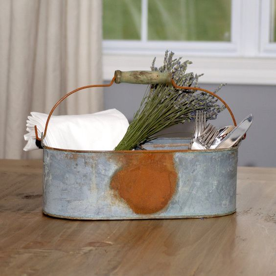 Featured Best Seller: Aged Galvanized Metal Caddy Use this galvanized caddy as a stylish way to organize your table utensils or gardening tools. Perfect for use at special event. http://maisonblanchedecor.myshopify.com/products/aged-galvanized-metal-caddy  #newitem #followme #farmhouse #storage