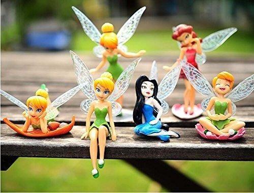 6 PCS Disney Princess Tinkerbell Fairy Action Figure Wing Fairies Cake Topper