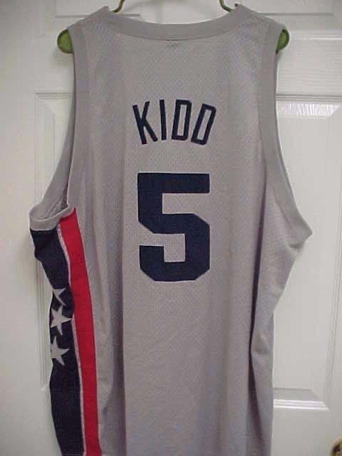 JASON KIDD 5 New Jersey Nets Gray Stitched Basketball Rewind
