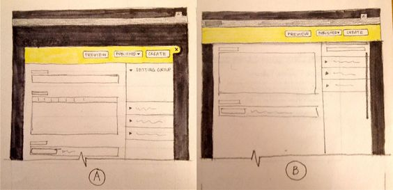 Sketch of d8 content creation sticky header
