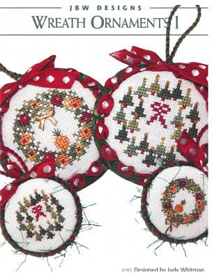 JBW Designs Wreath Ornaments I - Cross Stitch Pattern. Models stitched over one or two threads on 32 Ct. Antique White/Silver linen with Gentle Art Sampler thre