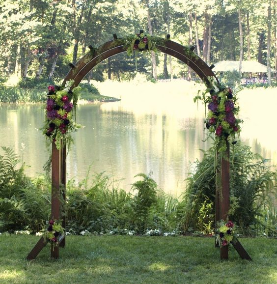 Wedding Altars For Sale: Wood Arch With Floral Accents