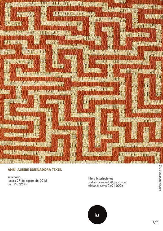 Anni Albers Diseñadora Textil  Anni Albers, 1899 - 1994, ha sido una de las diseñadores textiles más influyentes del siglo XX. Además de su actividad como diseñadora, también fue tejedora, escritora y grabadora. Logró desarrollar una nueva apreciación de lo textil como un modo de expresión estética y utilitaria.