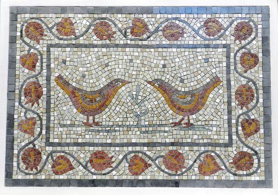 Birds and pomegranates. Wedding mosaic by Helen Miles Mosaics.