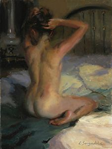 Kneeling Nude In Morning Light by artist Lynn Sanguedolce. Found on the FASO Daily Art Show - http://dailyartshow.faso.com