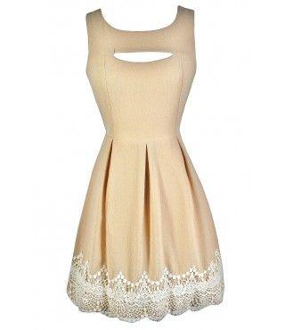 Cute Beige Dress, Beige A-Line Dress, Beige Rehearsal Dinner Dress, Beige Party Dress, Beige and Ivory Lace Dress