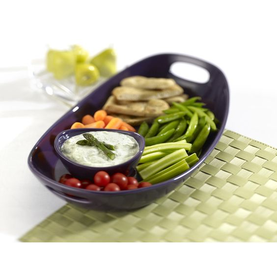 Rachael Ray Serveware Chip N' Dip Purple 14-inch Serving Platter and Dipper Bowl