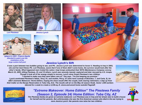 Extreme Makeover Home Edition - Jessica Lynch - Lori Piestewa - Install by Iplayco - we were pleased to part of this fantastic project. ~~~  #Extreme #Home #Makeover