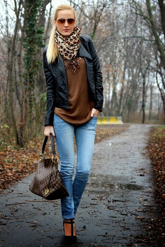 Fashion Idea leather jacket black brown sweater cardigan scarf
