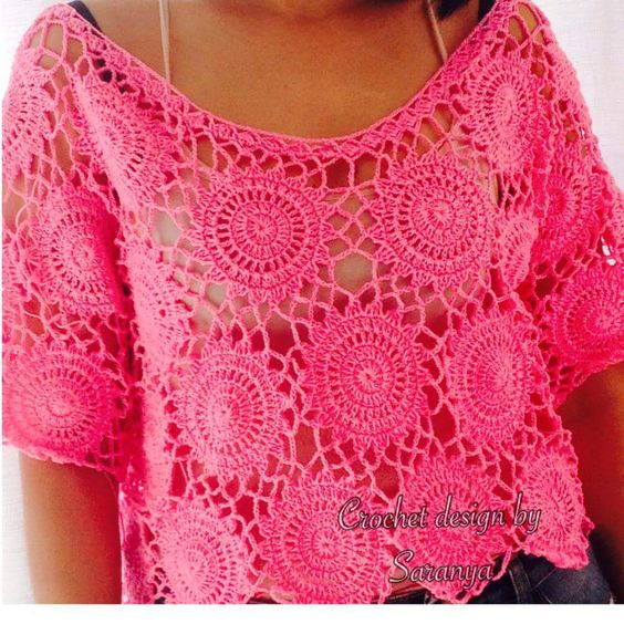 crochelinhasagulhas: Blusa rosa em crochê: