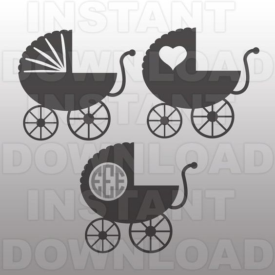 Baby Buggy SVG File,Baby Carriage SVG File Cutting Template-Vector Clip Art for Commercial & Personal Use Cricut,Cameo,Silhouette,Vinyl
