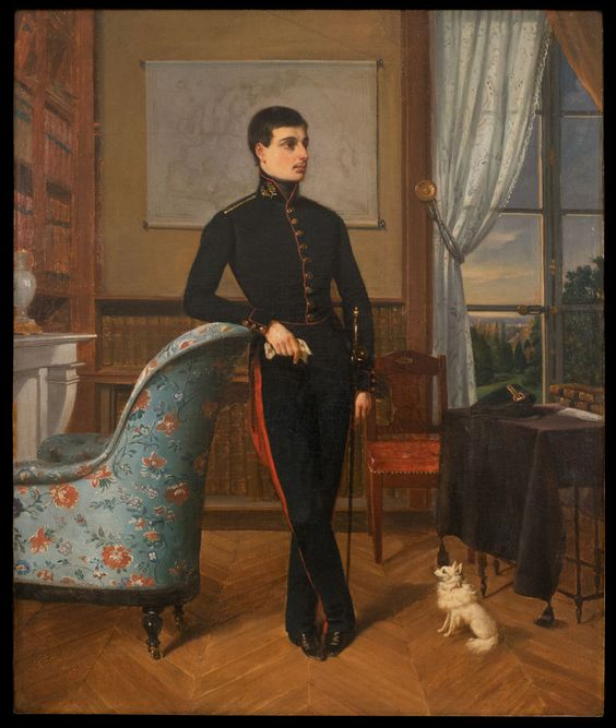 """Charles Marcel de PIGNEROLLE, attributed, """"Portrait of a Young Man in Interior""""…:"""